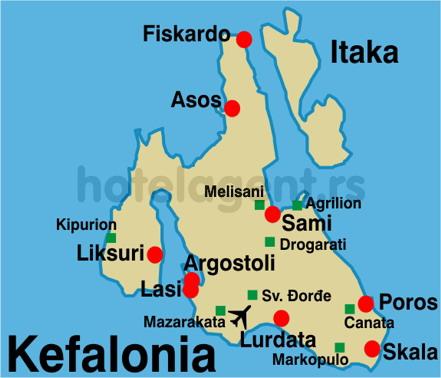 Grcka Kefalonija Mapa Turisticka Agencija Magelan Novi Sad