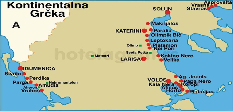 grcka mapa Grcka Kontinentalna Grcka mapa mesta   Magelan turistička agencija  grcka mapa