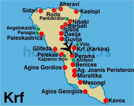 krf mapa grcka krf mapa mesta   Magelan turistička agencija Novi Sad krf mapa