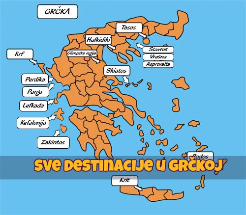 Mapa Grcka Sve Destinacije Turisticka Agencija Magelan Novi Sad